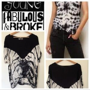 Young Fabulous & Broke Black White Tie Dye Shirt S